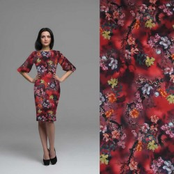 Soepele donna dress rood met lotusbloemen
